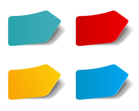 Colorful Stickers Set Isolated White Background With Gradient Mesh, Vector Illustration