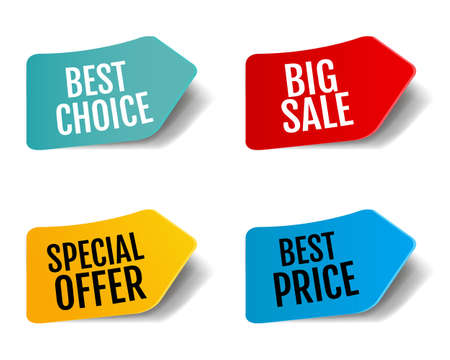 Sale Stickers Set Isolated White Background With Gradient Mesh, Vector Illustration