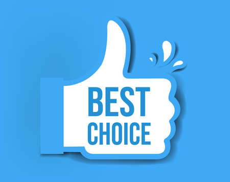 Best Choice Sticker Isolated Blue Background With Gradient Mesh, Vector Illustration