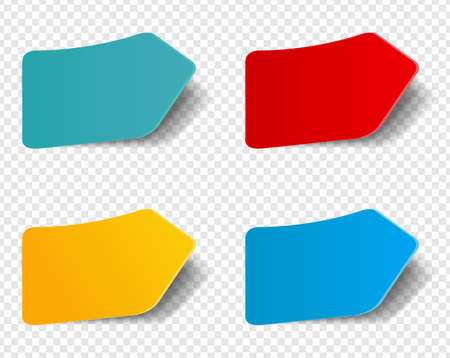 Colorful Stickers Set Isolated Transparent Background With Gradient Mesh, Vector Illustration