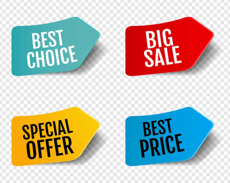 Sale Stickers Set Isolated Transparent Background With Gradient Mesh, Vector Illustration