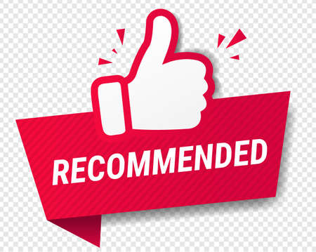 Red Banner Recommended With Thumbs Up Transparent Background With Gradient Mesh, Vector Illustration Ilustração
