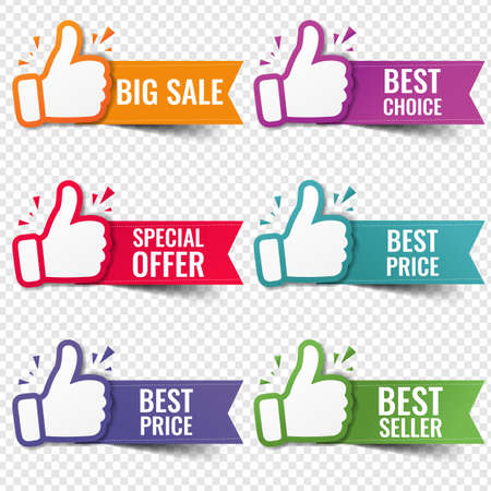 Banner Recommended With Thumbs Up Transparent Background With Gradient Mesh, Vector Illustration Banco de Imagens
