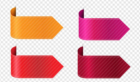 Silk Colorful Ribbons Isolated Transparent Background With Gradient Mesh, Vector Illustration