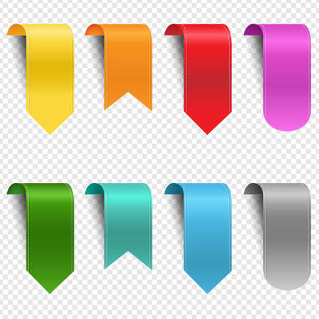 Colorful Ribbon Set Isolated Transparent Background With Gradient Mesh, Vector Illustration