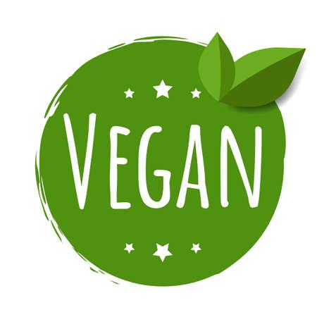 Vegan Label Isolated White Background With Gradient Mesh, Vector Illustration Ilustração