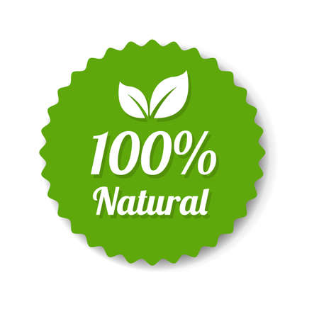 Natural Green Label With Leaves With Gradient Mesh, Vector Illustration