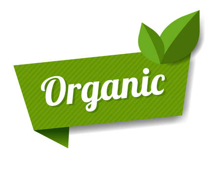Organic Label With Leaves White Background With Gradient Mesh, Vector Illustration Ilustração
