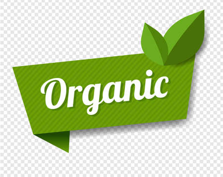 Organic Label With Leaves Transparent Background With Gradient Mesh, Vector Illustration Ilustração