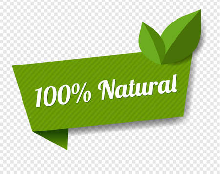 Natural Label With Leaves Transparent Background With Gradient Mesh, Vector Illustration