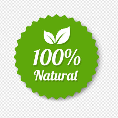 Natural Green Label With Leaves Transparent Background With Gradient Mesh, Vector Illustration