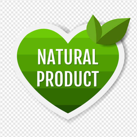 Natural Product Green Labels With Leaves With Gradient Mesh, Vector Illustration
