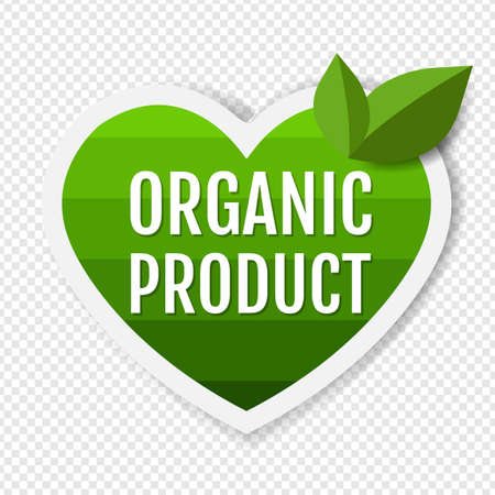 Organic Product Green Labels With Leaves Transparent Background With Gradient Mesh, Vector Illustration