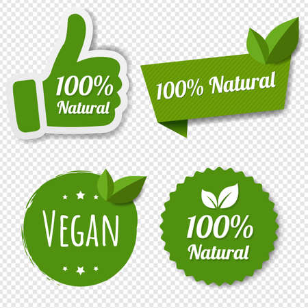 Natural Green Labels Set With Leaves Transparent Background With Gradient Mesh, Vector Illustration Banco de Imagens - 155038651