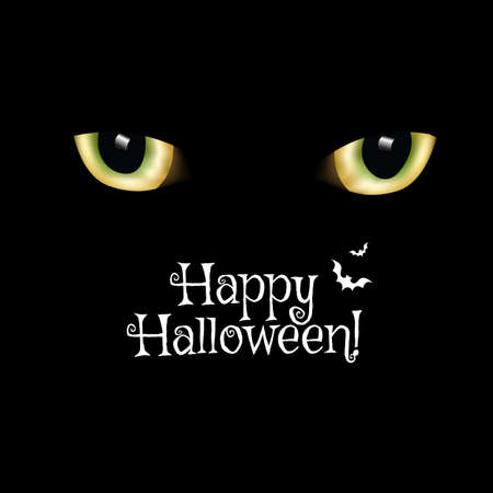 Black Card Happy Halloween And Cats Eyes Flowers With Gradient Mesh, Vector Illustration 向量圖像