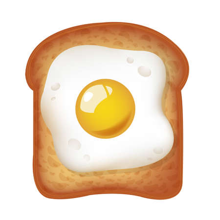 Fried Egg With Toast Isolated Flowers With Gradient Mesh, Vector Illustration