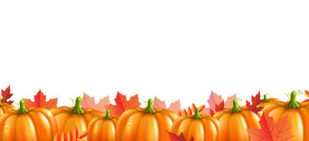 Border With Pumpkins And Leaves Isolated With Gradient Mesh, Vector Illustration