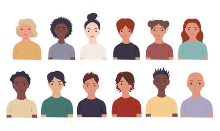 Collection Of Portraits People Set, Vector Illustration Ilustração