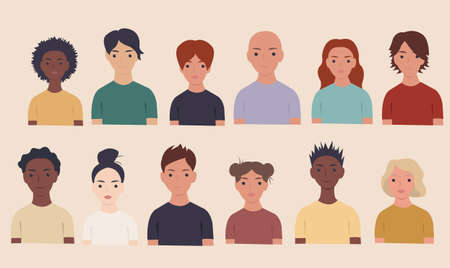 Collection Of Portraits People Beige Background, Vector Illustration Ilustração