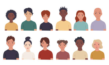 Big Set Of Portraits People, Vector Illustration