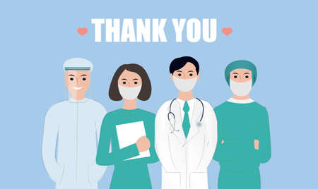 Thank You Doctors And Nurses Card Working In Hospitals, Vector Illustration Banco de Imagens - 156156703