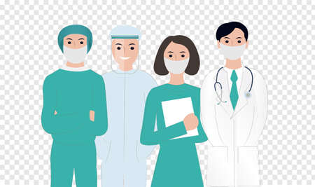 Thank You Doctors And Nurses Card Working In Hospitals Transparent Background, Vector Illustration