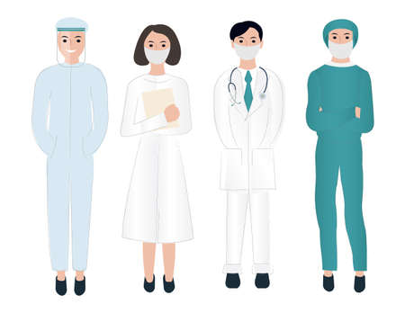 Thank You Doctors And Nurses Working In Hospitals, Vector Illustration Ilustração