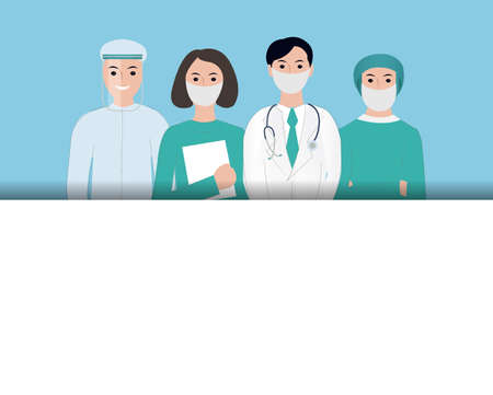 Thank You Doctors And Nurses Working In Hospitals Blue Background, Vector Illustration
