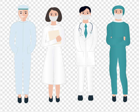 Thank You Doctors And Nurses Working In Hospitals Transparent Background, Vector Illustration Ilustração