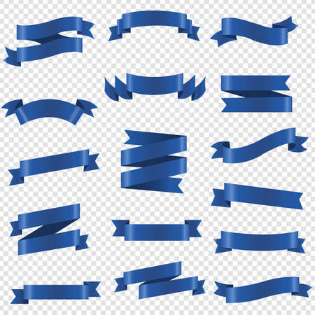 Blue Ribbon Set Isolated Transparent Background, Vector Illustration Ilustração
