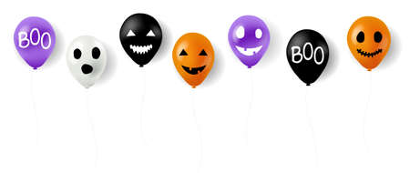 Happy Halloween Balloons With White Background With Gradient Mesh, Vector Illustration Ilustração