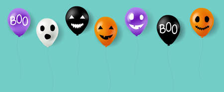 Happy Halloween Balloons With Mint Background With Gradient Mesh, Vector Illustration