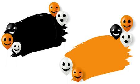 Happy Halloween Banner With Balloons White Background With Gradient Mesh, Vector Illustration