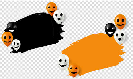 Happy Halloween Banner With Balloons transparent Background With Gradient Mesh, Vector Illustration