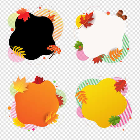 Autumn Happy Halloween Banner With Leaves Transparent Background With Gradient Mesh, Vector Illustration Ilustração