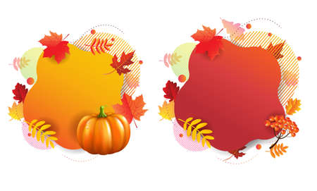 Autumn Banners With White Background With Gradient Mesh, Vector Illustration Ilustração