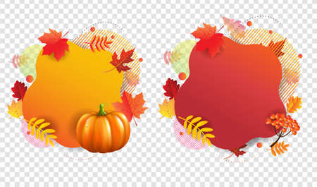 Autumn Banners With Transparent Background With Gradient Mesh, Vector Illustration Ilustração