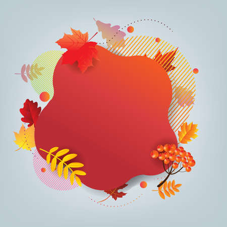 Autumn Banner And Autumn Leaves With Gradient Mesh, Vector Illustration
