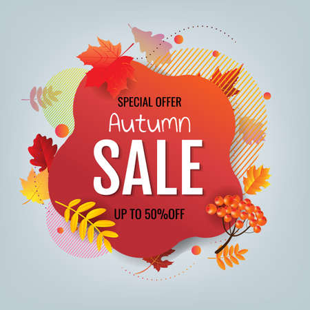 Autumn Banner With Autumn Leaves With Gradient Mesh, Vector Illustration
