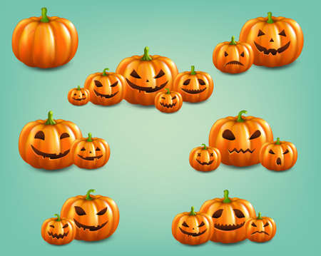 Orange Set Pumpkins Set Isolated Mint Background With Gradient Mesh, Vector Illustration Banco de Imagens