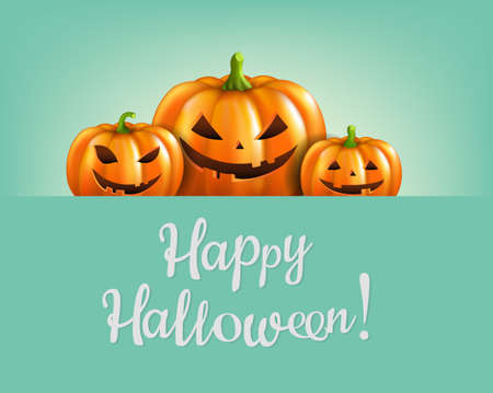 Orange Halloween Pumpkins Isolated Mint Background With Gradient Mesh, Vector Illustration
