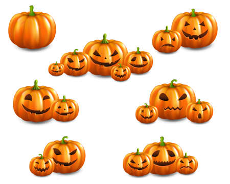 Orange Set Pumpkins Set Isolated White Background With Gradient Mesh, Vector Illustration