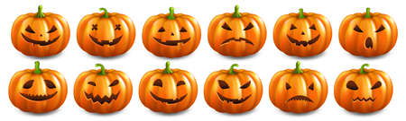 Big Set Pumpkins Isolated White Background With Gradient Mesh, Vector Illustration