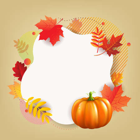 Hello Autumn Banner With Leaves With Gradient Mesh, Vector Illustration