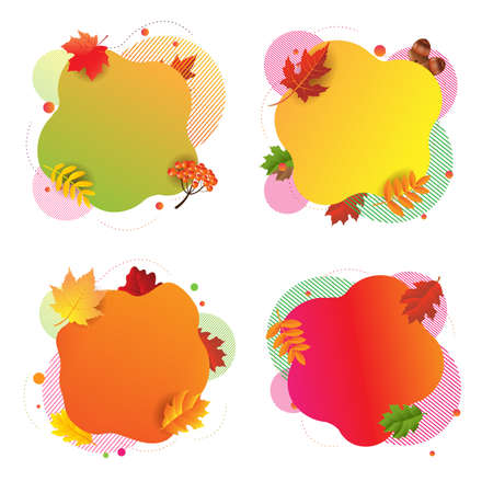 Autumn Happy Halloween Banner With Leaves White Background With Gradient Mesh, Vector Illustration
