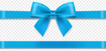 Blue Silk Ribbon And Bow Transparent background With Gradient Mesh, Vector Illustration