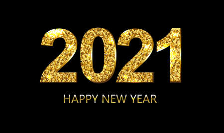 Happy New Year Postcard With Golden Text With Gradient Mesh, Vector Illustration Ilustração