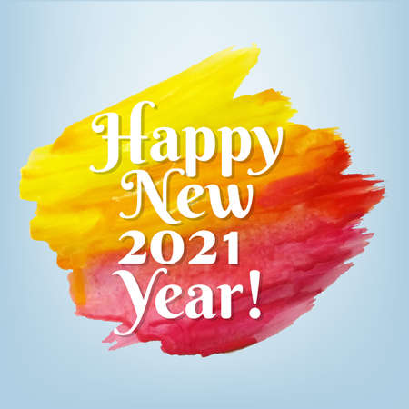 Happy New Year Card With Paint With Gradient Mesh, Vector Illustration