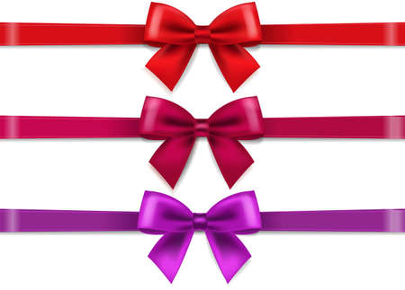 Red Silk Ribbons And Bows Transparent Background With Gradient Mesh, Vector Illustration