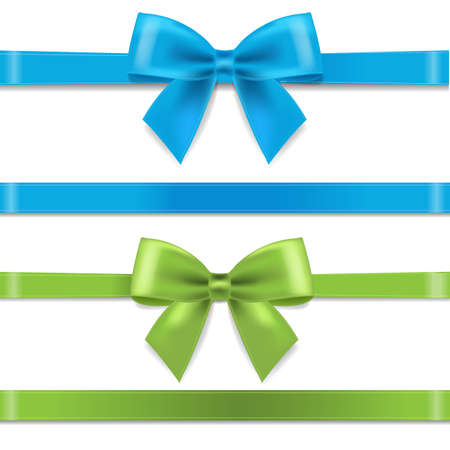 Green And Blue Silk Ribbon And Bow With Gradient Mesh, Vector Illustration